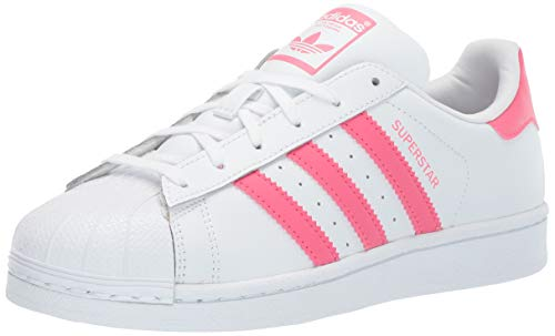 adidas Originals Baby Superstar Running Shoe, White Real Pink, 4K M US Toddler