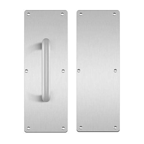 (Aybloom 304 Stainless Steel Door Handle, Pull and Push Plate Door Handle with Screws, 1 Set (3.94Inch Width x 11.81Inch Height x 0.04Inch Thick))