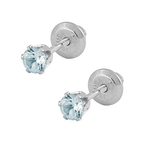 14K White Gold Genuine Blue Zircon Girls Earrings - December Birthstone (Baby December Birthstone Earrings)