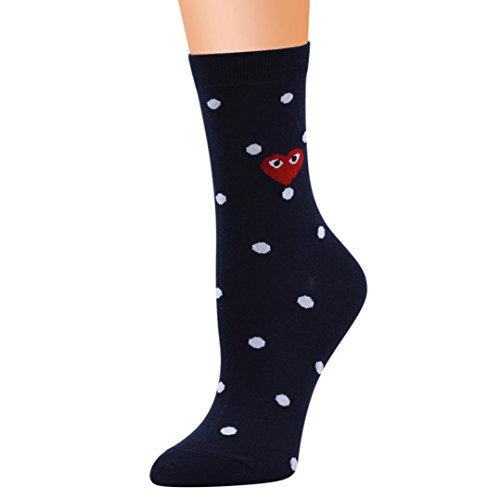Price comparison product image FimKaul Medium Compression Fashion Heart Dots Athletic Socks for Nurse Life Womens Socks for Workouts,  Running,  Travel (Black)