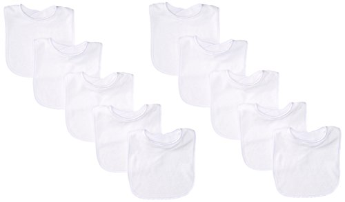 Neat Solutions 10 Pack Solid Knit Terry Feeder Bib Set, White by Neat Solutions