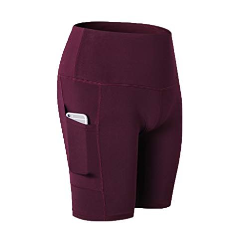 Ladybug Bloomers - TOTOD Yoga Pants Women's High Waist Shorts Abdomen Control Training Running Leisure Elastic Capris with Pockets Wine Red