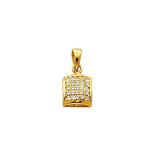 Designer Square Charms (Wellingsale 14K Yellow Gold Polished Rounded Square Charm Pendant with Micro Pave CZ Accent)