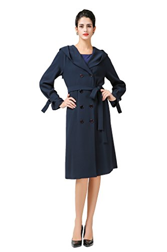 VOA Women's Navy Blue Double Breasted Silk Peacoat With Hoodie (Hooded Silk Coat)
