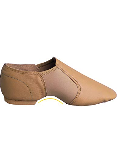 Child Tan Leather - Daydance Girl's Tan Jazz Dance Shoes Leather Slip-Ons Inserted with Neoprene,Tan,4 Big Kid