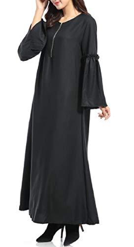 Islamico Zip Base Mezza Nero Abito Donne Jaycargogo Lungo Araba Musulmano Di Caftano wU0ftxIE