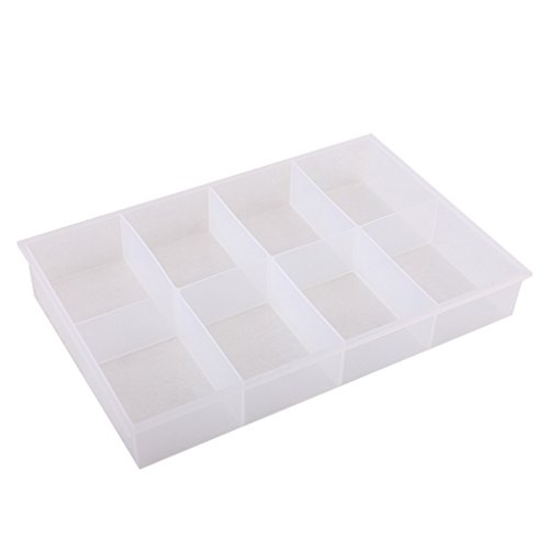 BangQiao Large Clear Plastic Organizer Tray with 8 Fixed Compartment and Storage Divider Box Container for Hardware, Craft, Small Parts ()