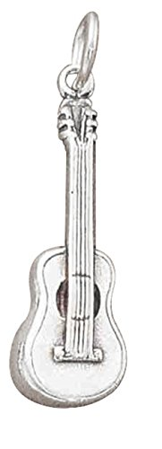 Sterling Silver 3D Musical Instrument Classic Guitar Charm
