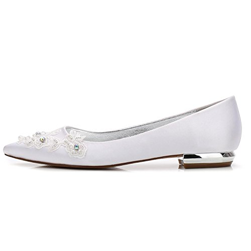 L@YC Women's Wedding Court Shoes 5047-17 Flowers Closed Toe Mid Heel Satin Prom/Multi-Color customization White bLMOM