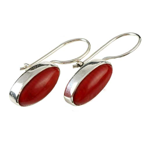 Women's Sterling Silver Oval Natural Red Coral Handmade Drop Earrings