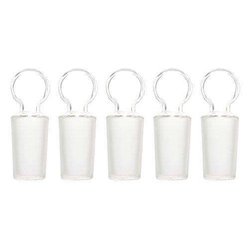 StonyLab Glass Penny Head Glass Hollow Stopper for 24/40 Outer Joint Glass, with Closed Bottom (5 Pack)
