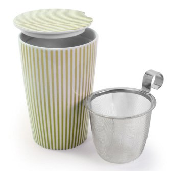 Danesco 12 Ounce Porcelain Double Walled Tea Mug With Infuser, Green Pinstripe