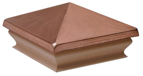 Woodway Pyramid Fence Post Cap 4 x 4 Copper Outdoor Cap for Garden Deck Patio with Solid Cedar Wood Base, Pack of 12