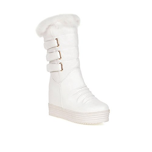 Allhqfashion Womens Massief Hoge Hakken Ronde Gesloten Teen Pu Pull On Boots White