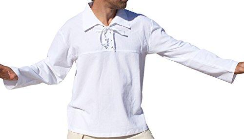 Raan Pah Muang European Poets Collar Medieval Tied Collar Shirt Plus Size, XX-Large, White ()