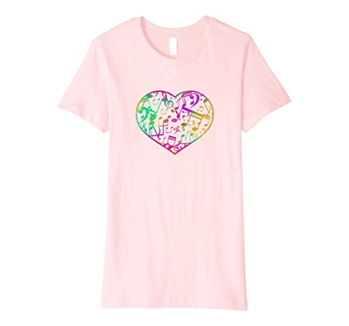 Note Womens Pink T-shirt (Womens Colorful Heart and Musical Notes T-shirt Large Pink)