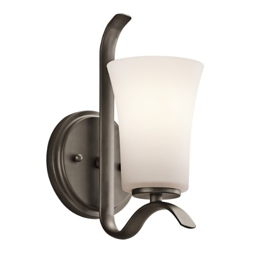 Kichler 45374OZFL Armida 1LT Energy Efficient Wall Sconce, Olde Bronze Finish with Satin Etched Glass