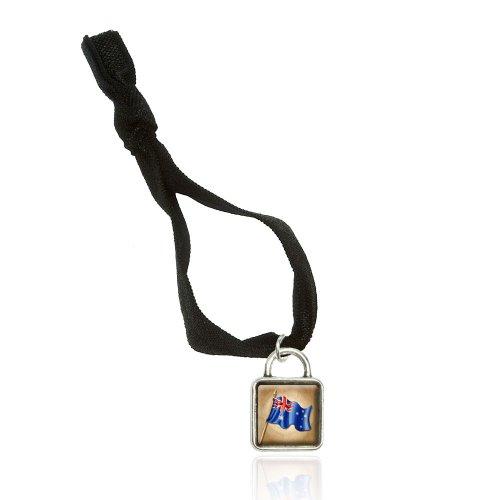 Price comparison product image Vintage Australian Flag Aussie Australia Bracelet Double Fold Over Stretchy Elastic No Crease Hair Tie with Sqr Charm
