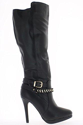 Schwarze Damen Stiefel mit Absatz-Ende von 11cm und Plattform
