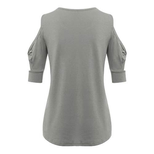 Maglietta senza Donna Casual Collo Solid Donna Party spalline O Manica Grigio Maglietta Frauit Top corta allentata HIWED92