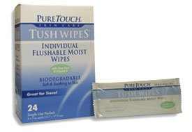 Pure Touch Tush Wipes for Adults 24 Individual Flushable Moist Wipes / 6 boxes 144 Single-Use-Packets by Pure Touch Skin care