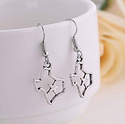 cooltime DIY Texas State Map Silver Dangle Earring Jewelry for Cowgirls Women