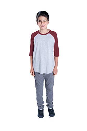 LAT Apparel Youth 100% Cotton Blank Vintage Tee 3/4 Sleeve T-Shirt