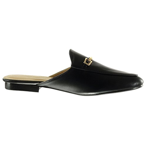 Angkorly Damen Schuhe Oriental Hausschuhe - Schleife - Golden Blockabsatz 2 cm Schwarz