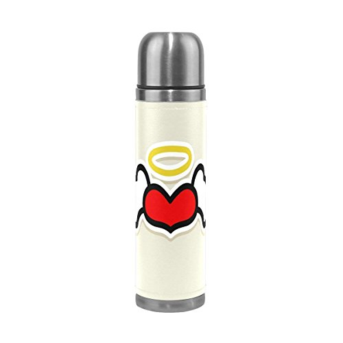 Aladdin Angel Wings - Angel Wings Love Heart Stainless Steel Water Bottle 17 Oz Leak Proof Vacuum Insulated Thermos Flask Genuine Leather Wrapped Cover