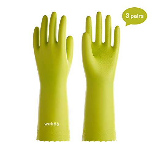 LANON Wahoo 3 Pairs PVC Household Cleaning Gloves, Reusable Dishwashing Gloves with Cotton Flocked Liner, Waterproof…