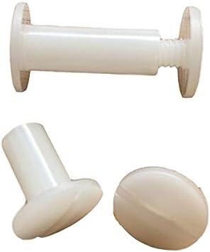 Longitud//altura a elegir 20 tornillos de encuadernaci/ón de pl/ástico blanco con ranura de 5,5-6 mm con orificio de 5 color Blanco 8mm H/öhe 10 16 mm de altura 14 12 8