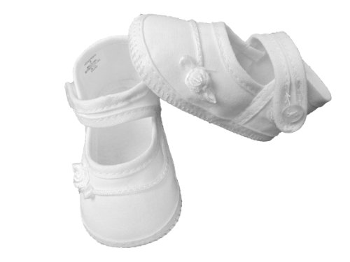 Girls White Cotton Batiste Christening Baptism Shoe Accented with Tiny Braid Girls Cotton Batiste