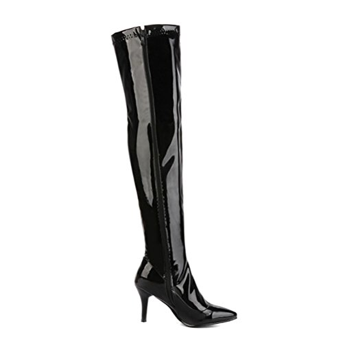 Knee High The Patent Agodor Heels Black High Over Boots Stiletto Womens zip With Leather tqEECw8