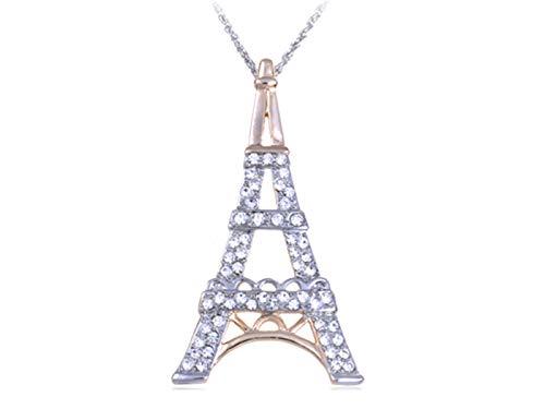 Purple Paris Eiffel Tower Purple Rose Rhinestone Pin Brooch Necklace Pendant
