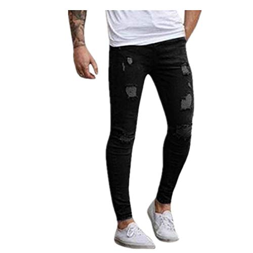 Destroyed Fit Slim Skinny Uomo Da Especial Pants Biker Estilo Jeans Chern Pantaloni Stretch Fori A Nero Summer Jogging Rt Con qwSCgIFnnx