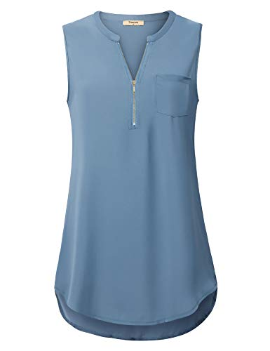 Timeson Womens Button Down Blouse, Women Sleeveless Work Tops Chiffon Tunic Tops High Low Zipper Blouses Tank for Office Wear Business Casual Dressy V Neck Shirts Blue Gray Medium