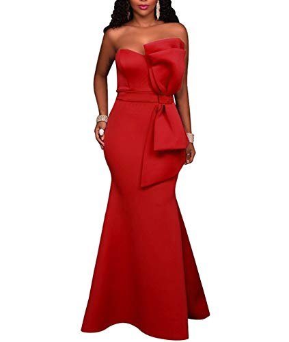 SEBOWEL Women's Sexy Strapless Off Shoulder Bodycon Party Cocktail Mermaid Evening Dresses Red XL
