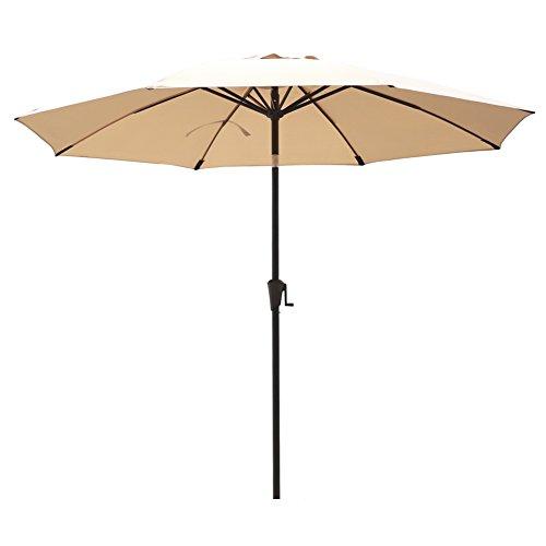 Cheap C-Hopetree 9ft Patio Market Outdoor Umbrella Parasol with Crank Winder, Auto Tilt, 8 Ribs with Fiberglass Rib Tips, Beige