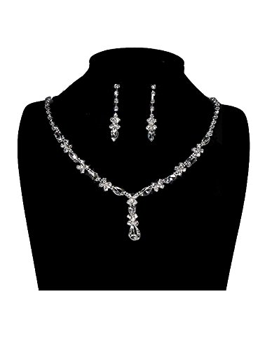 UDORA Rhinestones Necklace Earrings Jewelry Sets for Wedding Bridal Party (Bridal Jewelry Set)