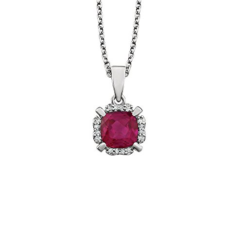 Cushion Created Ruby & .048 (I3, H-J) Diamond Necklace in 14K White Gold, 18 Inch ()