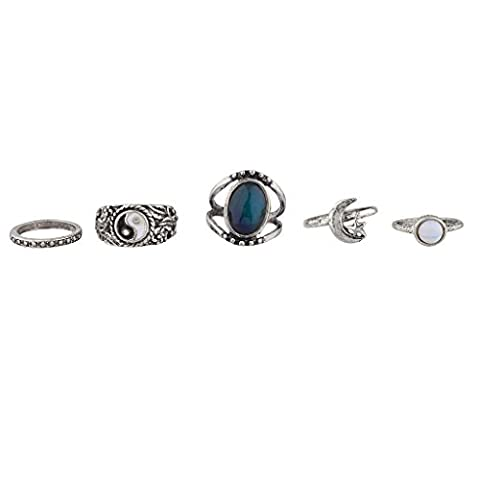Lux Accessories Ying Yang Mood Ring Set (5PC) (Boho Rings Silver)