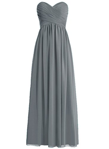 H.S.D Ladies Loose Pleated Full Length Party Dress Steel Grey ()