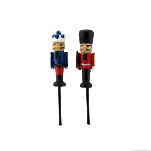 Miniature Fairy Garden Micro Mini Nutcracker Picks - Set of 2 ()