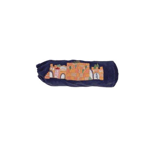 Shofar Bag with Embroidered Jerusalem Design (Blue) (Shofar Bag)
