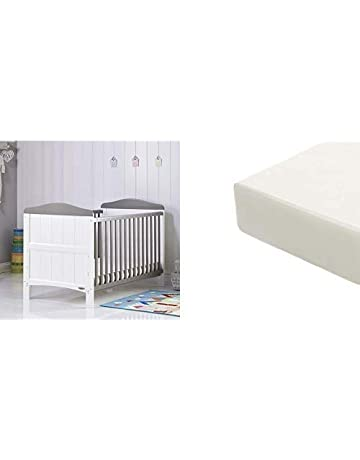 Obaby Whitby Cot Bed and Eco Foam Mattress - White with Taupe Grey