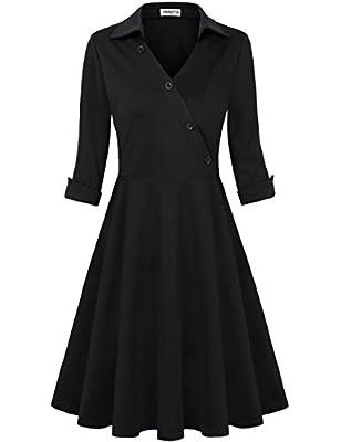 HNNATTA Women's Retro Collar V Neck Half Sleeve Vintage Work Office Dress Cocktail Swing Dresses