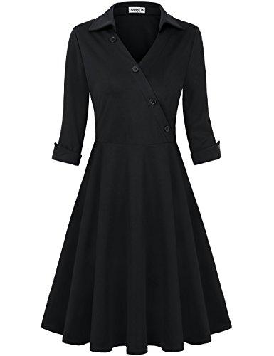 Black A-line Dress (HNNATTA Office Clothes For Women, Female Petite Deep Slim Fit Swing Work Wear Dresses Black Large)