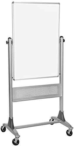 Best-Rite 669RU-DC Platinum Mobile Reversible Whiteboard & Bulletin Easel, 30 x 40 Inch Panel Size, Porcelain Steel Markerboard & Natural Cork Tack Surface Cork Euro Reversible Board