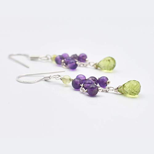 Finding 2 (Natural Amethyst Peridot Beads Chandelier Earrings with Sterling Silver Findings 2