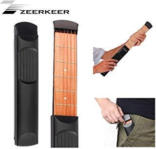 Zeerkeer Pocket Acoustic Guitar Practice Tool Gadget Chord Trainer 6 String  6 Fret Model Fretboard Wood Grain with Tuning Tool Chord Trainer for